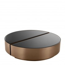 Astra Brushed Copper & Black Glass Coffee Table - Set of 2