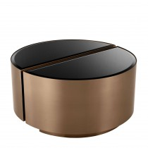 Astra Brushed Copper & Black Glass Side Table - Set of 2