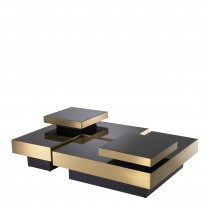 Nio Brushed Brass & Black Glass Coffee Table - Set of 4