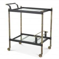 Princess Vintage Brass & Black Leather Bar Cart