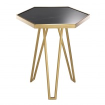 Samson Brushed Brass & Honed Black Marble Side Table
