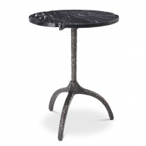 Cortina Vintage Brass & Black Marble Side Table