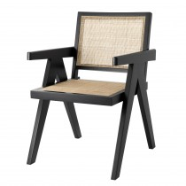 Aristide Black Dining Chair Chair with Rattan Cane Webbing