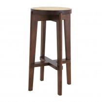 Dareau Classic Brown Bar Stool with Rattan Cane Webbing
