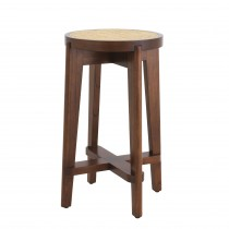 Dareau Classic Brown Counter Stool with Rattan Cane Webbing
