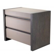 Meribel Mocha Straight Oak & Grey Leather Look Bedside Table