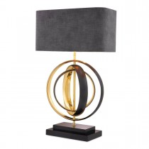 Riley Black Metal & Polished Brass Table Lamp