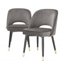 Cliff Savona Grey Velvet Dining Chair - Set of 2