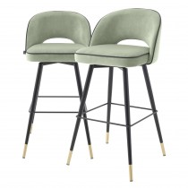Cliff Savona Pistache Green Velvet Bar Stool - Set of 2