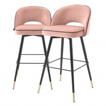 Cliff Savona Nude Velvet Bar Stool - Set of 2