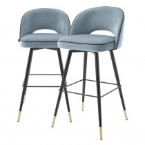 Cliff Savona Blue Velvet Bar Stool - Set of 2
