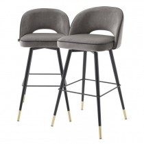 Cliff Savona Grey Velvet Bar Stool - Set of 2