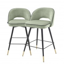 Cliff Savona Pistache Green Velvet Counter Stool - Set of 2