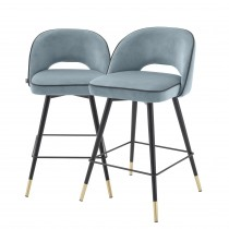 Cliff Savona Blue Velvet Counter Stool - Set of 2