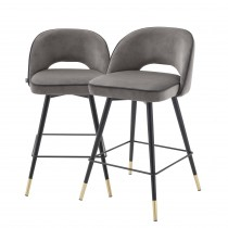 Cliff Savona Grey Velvet Counter Stool - Set of 2