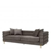 York Savona Grey Velvet Sofa