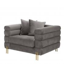 York Savona Grey Velvet Armchair