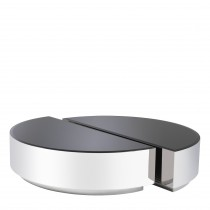 Astra Polished Stainless Steel & Black Glass Coffee Table - Set of 2