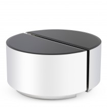 Astra Polished Stainless Steel & Black Glass Side Table - Set of 2