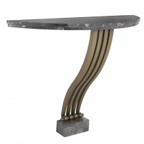 Renaissance Brushed Brass & Grey Marble Console Table