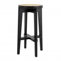 Dareau Classic Black Bar Stool with Rattan Cane Webbing