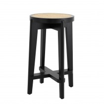 Dareau Classic Black Counter Stool with Rattan Cane Webbing