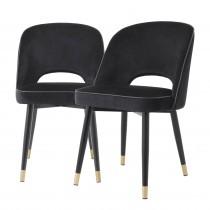 Cliff Roche Black Velvet Dining Chair - Set of 2