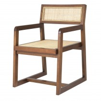 Dinant Classic Brown Dining Chair with Rattan Cane Webbing