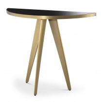 Aston Brushed Brass & Black Glass Console Table