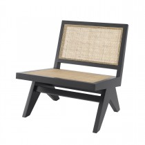 Romee Classic Black Armchair with Rattan Cane Webbing