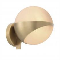 Wilson Antique Brass & White Glass Wall Lamp