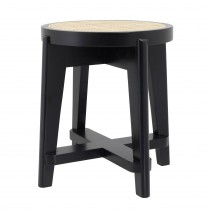 Dareau Classic Black Stool with Rattan Cane Webbing