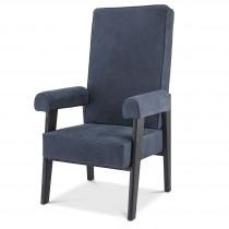 Milo Blue Nubuck Leather & Black Oak High Back Armchair