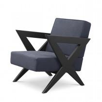 Felippe Blue Nubuck Leather & Black Oak Armchair
