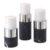 Sierra Black Marble & Nickel Candle Holder - Set of 3
