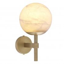 Jade Antique Brass & Alabaster Wall Lamp