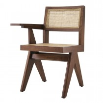 Niclas Classic Brown Chair with Desk Arm