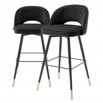 Cliff Roche Black Velvet Bar Stool - Set of 2