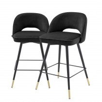 Cliff Roche Black Velvet Counter Stool - Set of 2