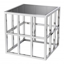 Lazare Polished Stainless Steel & Black Glass Side Table