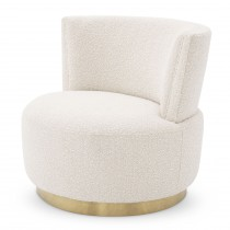 Alonso Boucle Cream Swivel Chair
