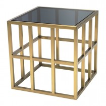 Lazare Brushed Brass & Black Glass Side Table