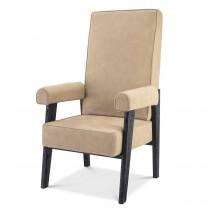 Milo Beige Nubuck Leather & Black Oak High Back Armchair