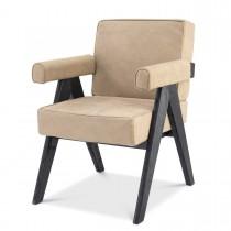 Matteus Beige Nubuck Leather & Black Oak Dining Chair