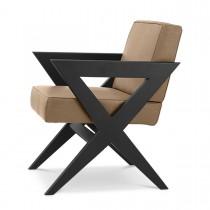 Felippe Beige Nubuck Leather & Black Oak Dining Chair