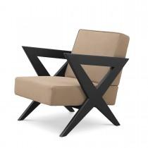 Felippe Beige Nubuck Leather & Black Oak Armchair
