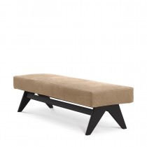 Dionis Beige Nubuck Leather & Black Oak Bench