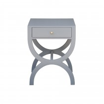 Alexis Grey Lacquer Bedside Table