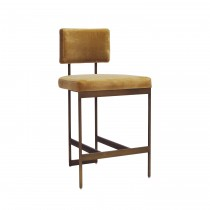 Baylor Bronze Counter Stool with Camel Velvet Cushion