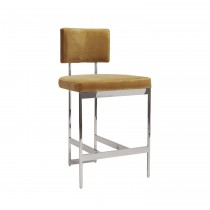 Baylor Nickel Counter Stool with Camel Velvet Cushion